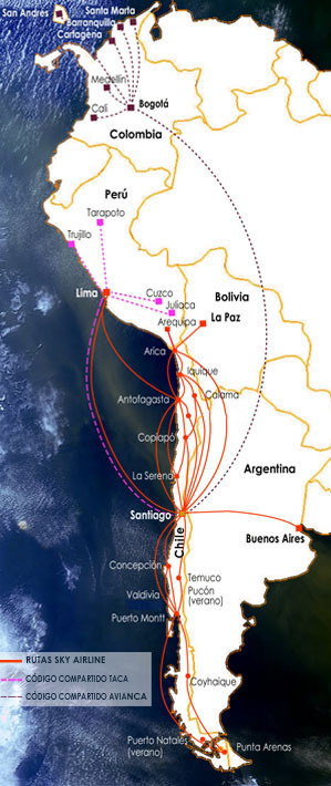 Sky Airline (Chile) 6:2013 Route Map