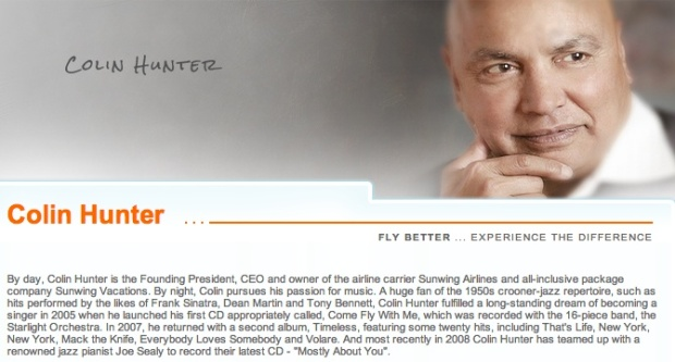 Sunwing Colin Hunter bio