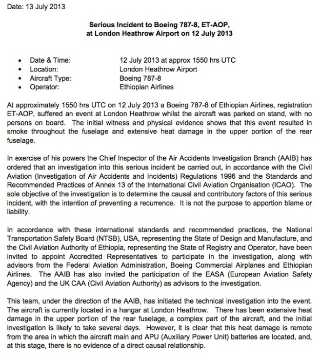 AAIB LHR Statement 7.13.13