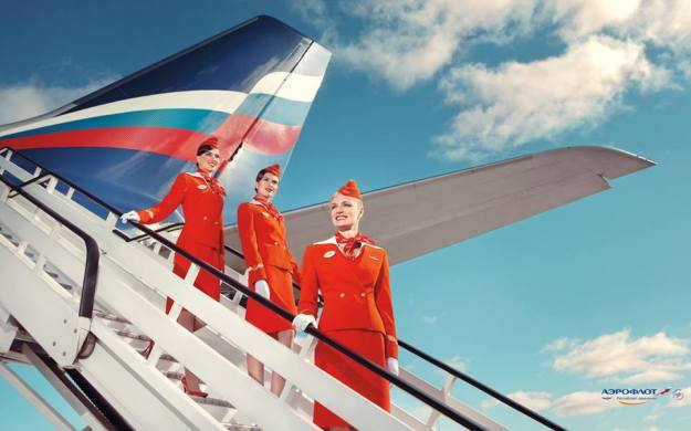 Aeroflot FAs on steps (Aeroflot)(LR)