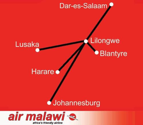 Air Malawi 11:2012 Route Map