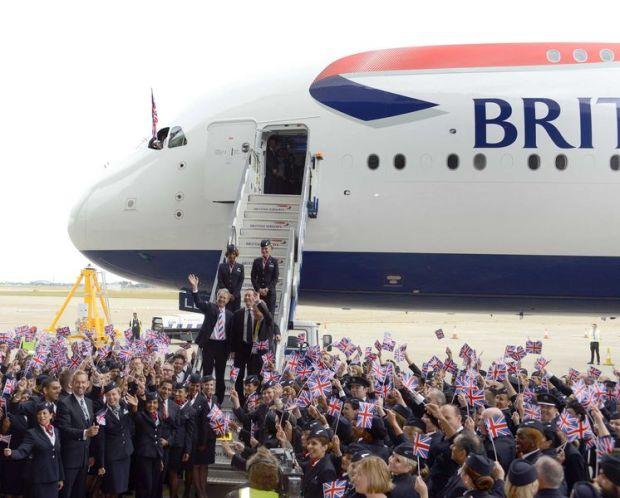 British A380 Arrival (Airbus)(LR)