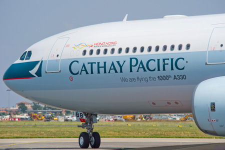 Cathay Pacific A330-300 B-LBB (94-We are flying the 1000th A330)(Nose)(Airbus)(LRW)