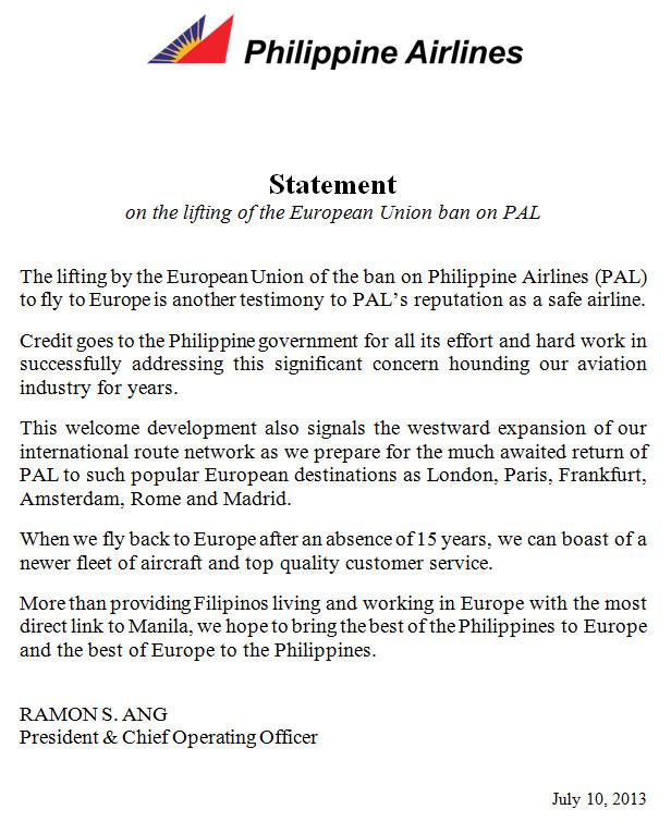 Philippine EU Statement