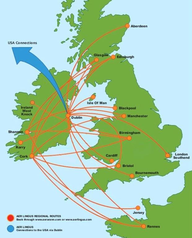 Aer Arann 8:2013 Route Map