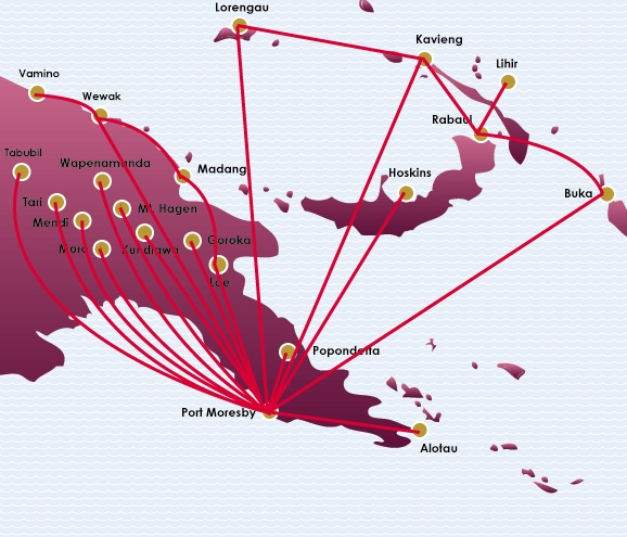 Air Niugini 8:2013 Domestic Route Map