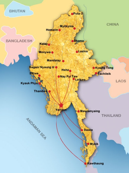 Asian Wings Airways 8:2013 Route Map
