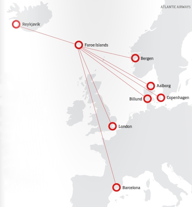Atlantic Airways (Faroe Islands) 8-2013 Route Map