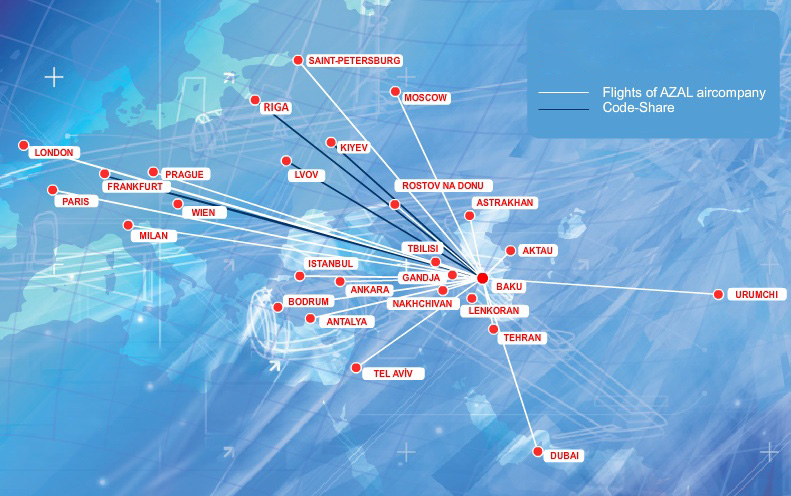 Azerbaijan airlines launches the baku beijing route world airline news azerbaijan 8 2013 route map gumiabroncs Gallery