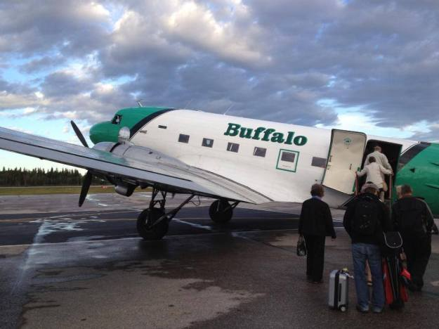 Buffalo Airways Passengers boarding DC-3 (Buffalo)(LR)