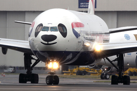 British Airways 777-200 G-YMMH (97-Union flag-Panda Jet)(Nose) LHR (AJB)(LRW)