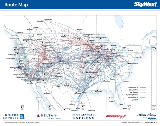 SkyWest Combined 9:2013 Route Map