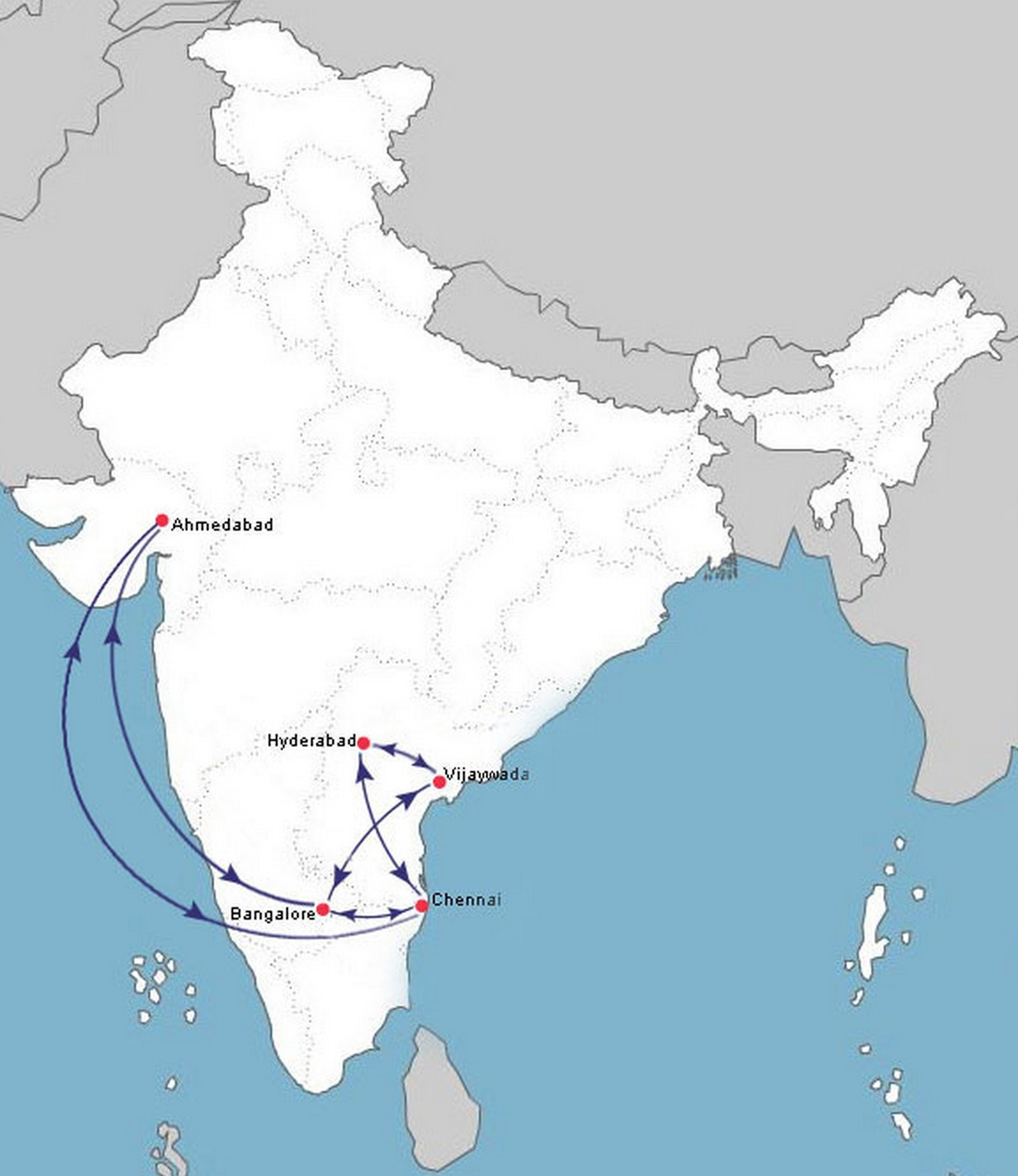 Air Route Map of India Air Costa 10:2013 Route Map