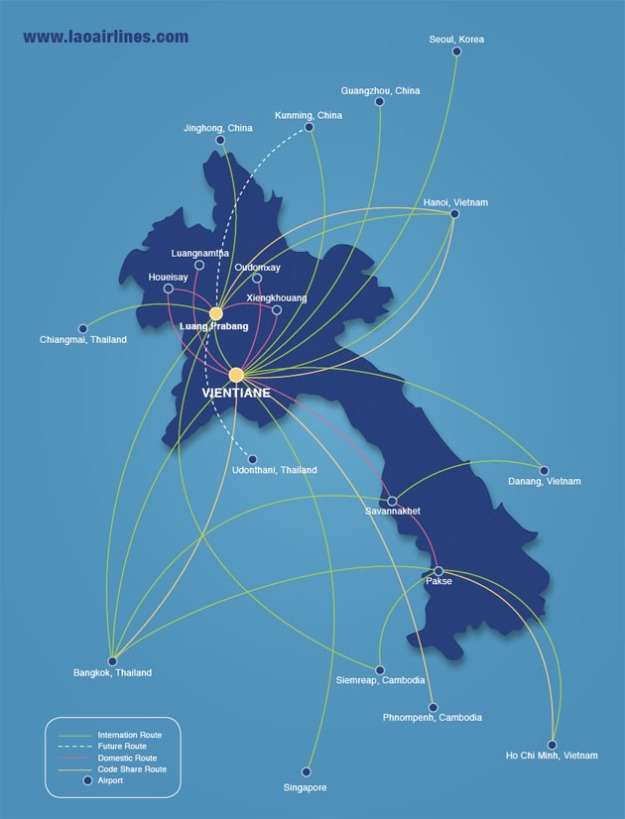 Lao Airlines 10:2013 Route Map