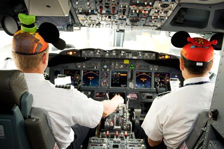 Alaska Disneyland Pilots in Cockpit (Alaska)(LRW)