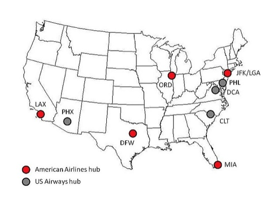 American-US Airways Hubs