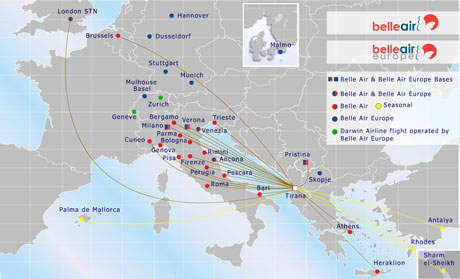 Belle Air (Albania) 11.2013 Route Map