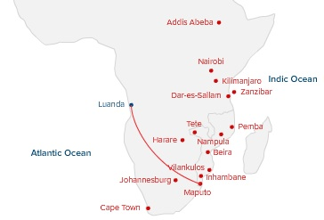 LAM Maputo-Luanda Map