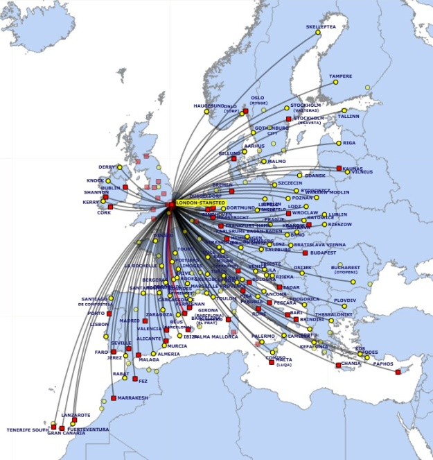 Ryanair 11.2013 STN Route Map