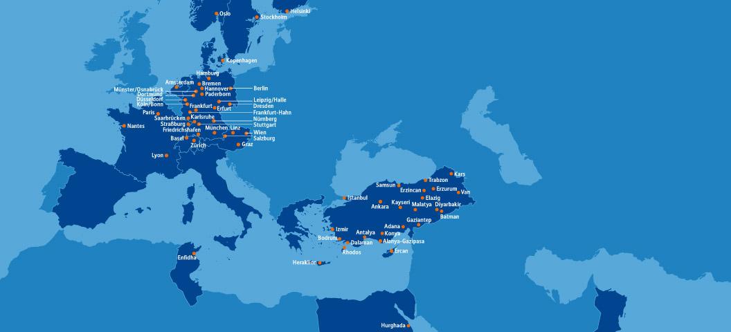 Kayseri Map%0A SunExpress         Destinations