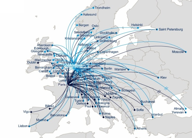 Air France CDG European Route Map