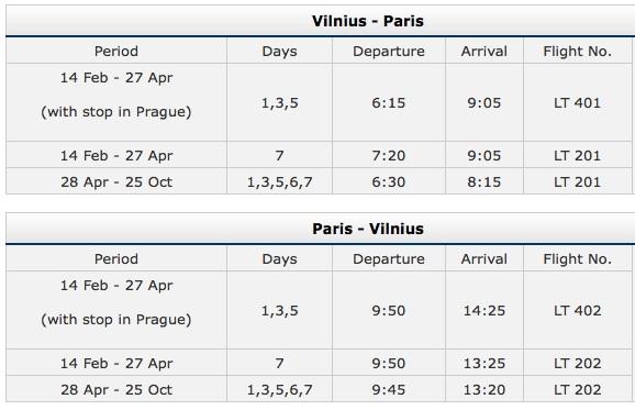 Air Lituanica Vilnius-Paris Schedule