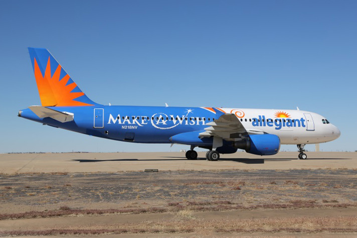 Allegiant A320-200 N218NV (13-Make-A-Wish)(Grd)(Allegiant Air)(LR)