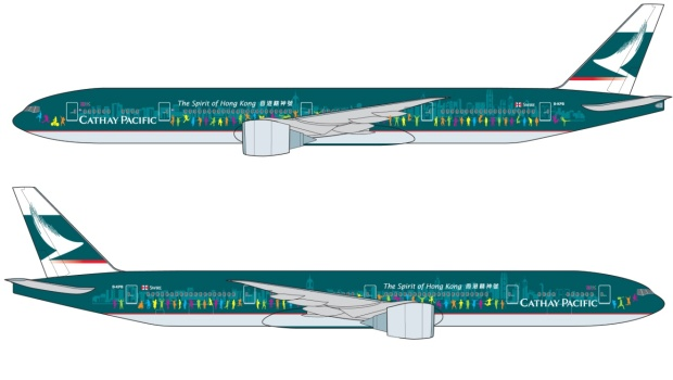 Cathay Pacific 777-300 B-KPB (13-The Spirit of Hong Kong)(Drawings)(Cathay Pacific)(HR)