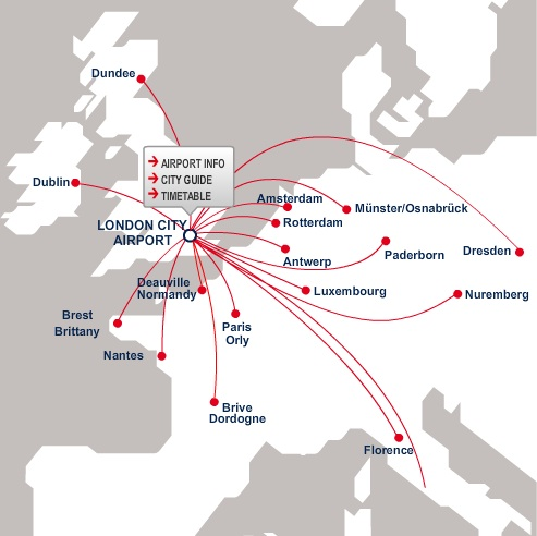CityJet (Ireland) LCY 12.2013 Route Map