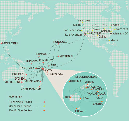 Fiji Airways 12.2013 Route Map