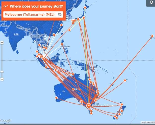 Jetstar 12.2013 MEL Route Map
