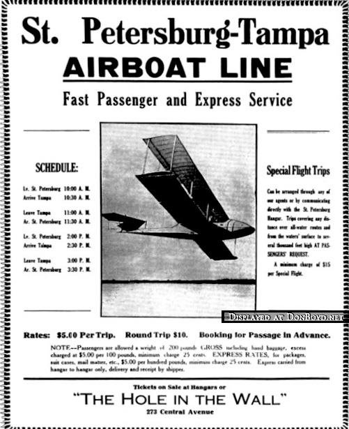 1914 ad for the St. Petersburg Airboat Line