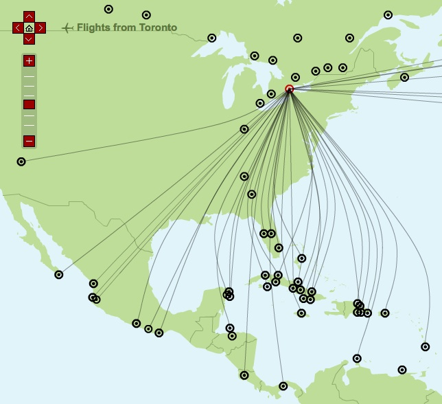 Sunwing YYZ 12.2013 Route Map