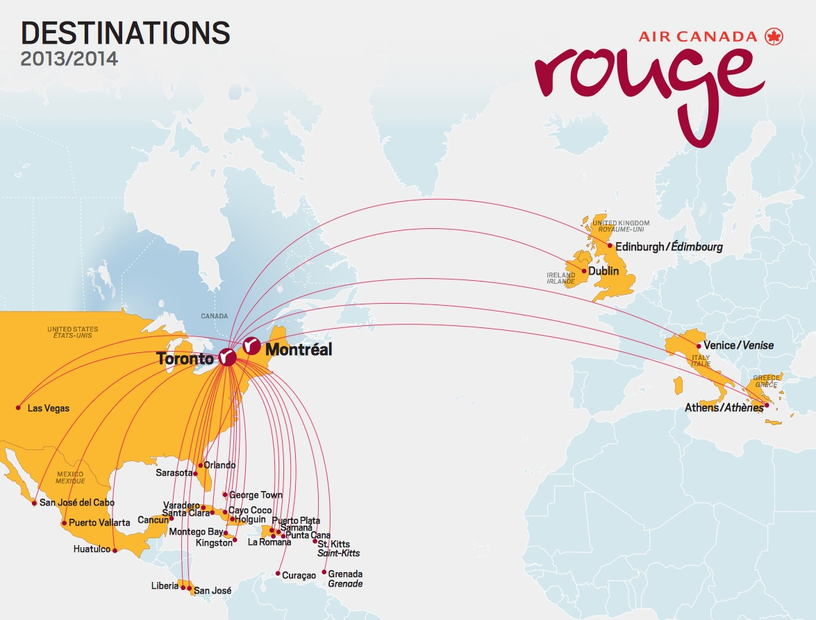 Air Canada Rouge Route Map Air Canada rouge to add more Caribbean routes this summer, fleet