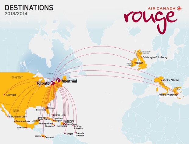 Air Canada rouge 1.2014 Route Map