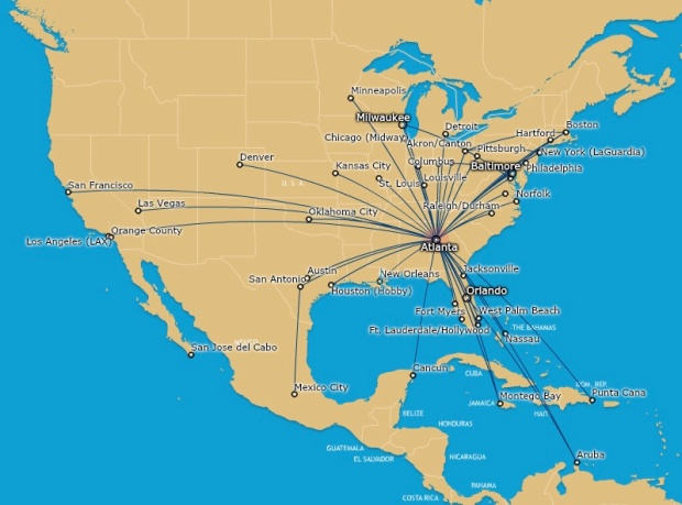 AirTran 1.2014 ATL Route Map