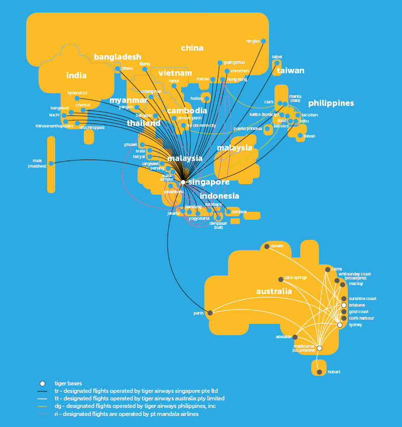 Tigerair 1.2014 Route Map