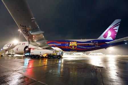 Qatar 777-300 A7-BAE (14-FC Barcelona)(Grd)(Qatar)(LRW)