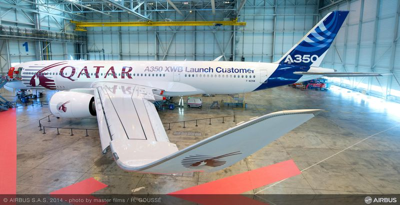 Airbus introduces an A350 hybrid livery for launch customer Qatar ...