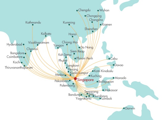 SilkAir 2.2014 Route Map
