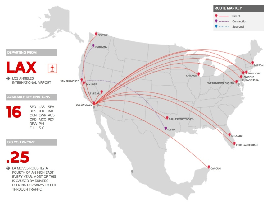 Virgin America 2.2014 LAX Route Map