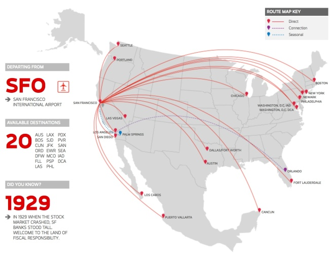 Virgin America 2.2014 SFO Route Map