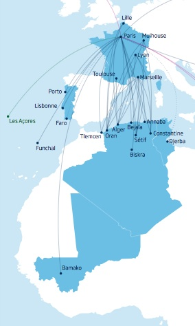 Aigle Azur 3.2014 Route Map