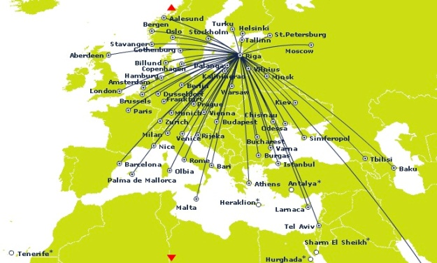 airBaltic 3.2014 Riga Route Map