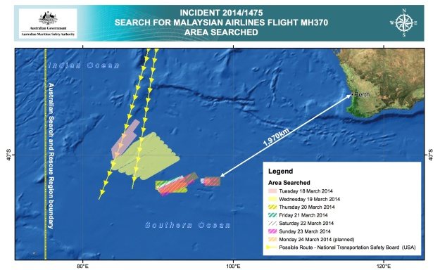 AMSA Search Areas for MH 370 3.25.14 (AMSA)