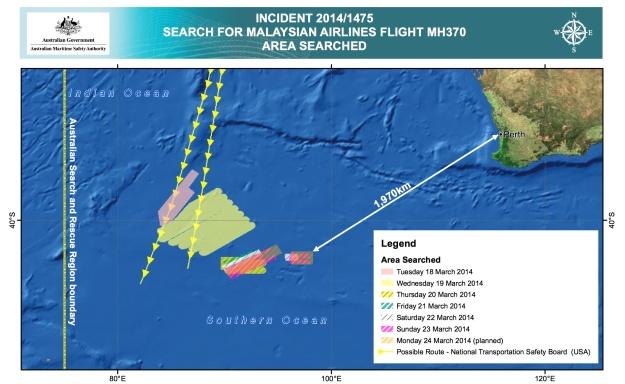AMSA Search Areas for MH 370 3.25.14 (AMSA)