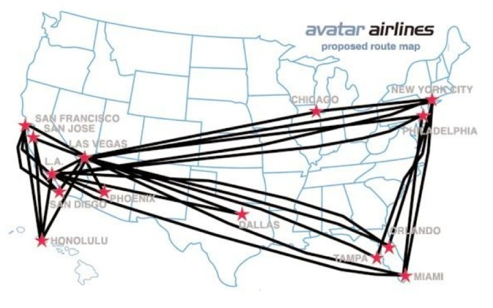 Avatar Airlines 2014 Proposed Route Map