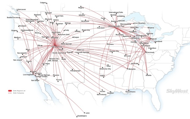 Delta Connection-SkyWest 3.2014 Route Map