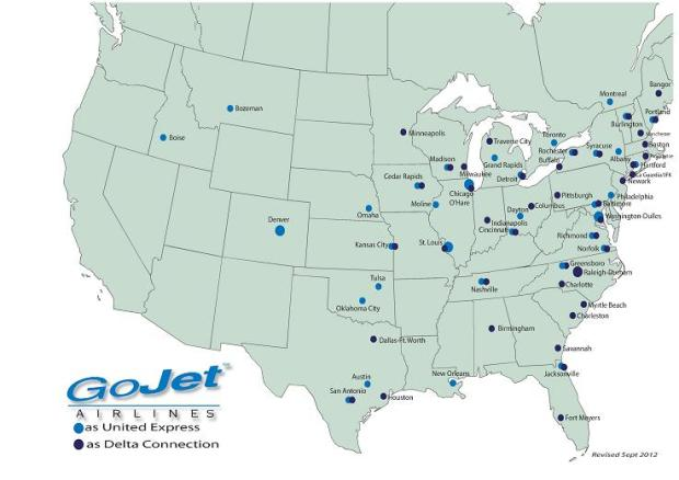 GoJet 3.2014 Cities Served (Delta and United)