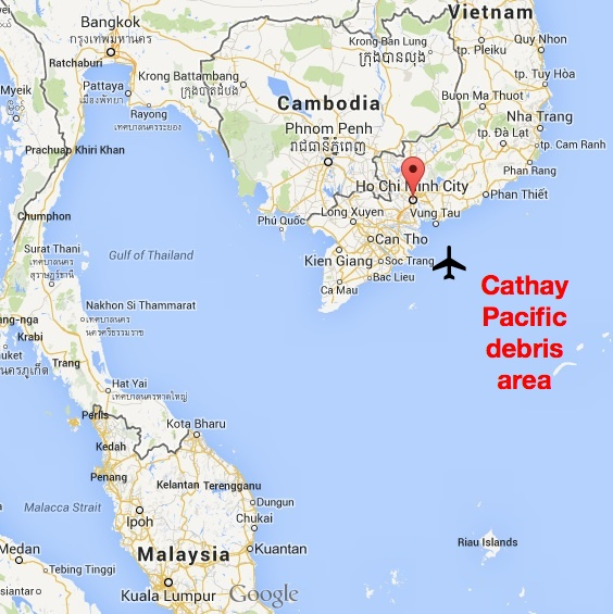Malaysia-Vietnam Cathay Pacific Debris Map
